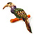 Multicoloured Enamel Exotic Parrot Bird Brooch (Gold Tone Metal) - 60mm L - view 2