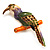 Multicoloured Enamel Exotic Parrot Bird Brooch (Gold Tone Metal) - 60mm L - view 4