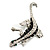 Silver Plated Crystal Enamel Lizard Brooch - view 8