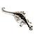 Silver Plated Crystal Enamel Lizard Brooch - view 5