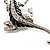 Silver Plated Crystal Enamel Lizard Brooch - view 4