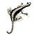 Silver Plated Crystal Enamel Lizard Brooch - view 2