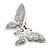 Glittering Silver Tone Diamante Butterfly Brooch - view 4