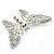Glittering Silver Tone Diamante Butterfly Brooch - view 5