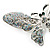 Glittering Silver Tone Diamante Butterfly Brooch - view 6