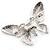 Glittering Silver Tone Diamante Butterfly Brooch - view 7