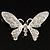 Glittering Silver Tone Diamante Butterfly Brooch - view 2