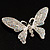 Glittering Silver Tone Diamante Butterfly Brooch - view 3