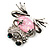 'Smiling Frog' Crystal Brooch (Silver Tone Metal) - view 7