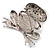 'Smiling Frog' Crystal Brooch (Silver Tone Metal) - view 6