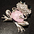 'Smiling Frog' Crystal Brooch (Silver Tone Metal) - view 4