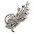 Clear Swarovski Crystal Floral Brooch (Silver Tone Metal) - view 2