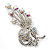 Clear Swarovski Crystal Floral Brooch (Silver Tone Metal) - view 6