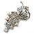 Clear Swarovski Crystal Floral Brooch (Silver Tone Metal) - view 11