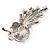 Clear Swarovski Crystal Floral Brooch (Silver Tone Metal) - view 4