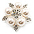 Stunning Bridal Simulated Pearl Crystal Brooch (Snow White & Silver) - view 7