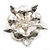 Stunning Bridal Simulated Pearl Crystal Brooch (Snow White & Silver) - view 4