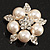 Stunning Bridal Simulated Pearl Crystal Brooch (Snow White & Silver)