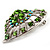 Silver Plated Apple Green Crystal Filigree Heart Brooch - view 3