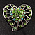 Silver Plated Apple Green Crystal Filigree Heart Brooch - view 5