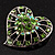 Silver Plated Apple Green Crystal Filigree Heart Brooch - view 6