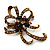 Chestnut Brown Crystal Bow Corsage Brooch (Antique Gold Tone)