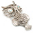 Large Filigree Crystal Owl Brooch (Silver Tone) - view 8