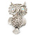 Large Filigree Crystal Owl Brooch (Silver Tone) - view 11
