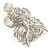 Large Filigree Crystal Owl Brooch (Silver Tone) - view 12