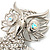 Large Filigree Crystal Owl Brooch (Silver Tone) - view 3