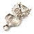 Large Filigree Crystal Owl Brooch (Silver Tone) - view 7