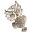 Large Filigree Crystal Owl Brooch (Silver Tone) - view 13