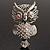Large Filigree Crystal Owl Brooch (Silver Tone)