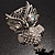 Large Filigree Crystal Owl Brooch (Silver Tone) - view 6