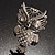 Large Filigree Crystal Owl Brooch (Silver Tone) - view 4