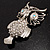 Large Filigree Crystal Owl Brooch (Silver Tone) - view 14