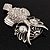 Large Filigree Crystal Owl Brooch (Silver Tone) - view 5