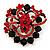 Bright Red & Jet-Black Diamante Corsage Brooch (Antique Gold Tone)