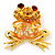 'Smiling Frog' Crystal Brooch (Gold Tone Metal) - view 1