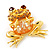 'Smiling Frog' Crystal Brooch (Gold Tone Metal) - view 8
