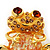 'Smiling Frog' Crystal Brooch (Gold Tone Metal) - view 2