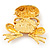 'Smiling Frog' Crystal Brooch (Gold Tone Metal) - view 4