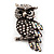 Antique Silver Crystal Owl Brooch