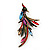 Sparkling Multicoloured Crystal Fire-Bird Brooch (Antique Gold Tone Metal) - view 7