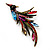 Sparkling Multicoloured Crystal Fire-Bird Brooch (Antique Gold Tone Metal) - view 4