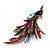 Sparkling Multicoloured Crystal Fire-Bird Brooch (Antique Gold Tone Metal) - view 8