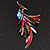 Sparkling Multicoloured Crystal Fire-Bird Brooch (Antique Gold Tone Metal) - view 3