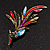 Sparkling Multicoloured Crystal Fire-Bird Brooch (Antique Gold Tone Metal) - view 5