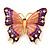 Oversized Deep Purple Enamel Butterfly Brooch (Gold Tone Metal)