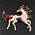 Oversized Diamante Enamel Horse Brooch In Rhodium Plated Metal - view 4